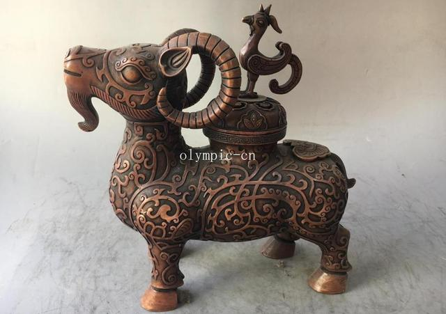 12'' red copper carvings auspicious animal sheep phoenix cover incense burner