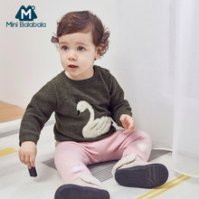 Mini Balabala Winter Baby Meisjes Lange Mouw O Hals Ruches Prinses Party Knitwear Dikker Warme Kids Kinderen Truien(China)