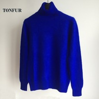 2019 New Autumn Winter Natural 100% Pure Mink Cashmere Sweater Knitted Handmade Turtleneck Pullovers wsr362