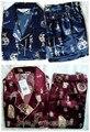 Бесплатная поставка Китайских людей Silk Район 2 шт. Ночное Одеяние пижамы пижамы Наборы Ванна Платье Sml XL XXL XXXL ZS001