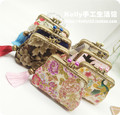 Vintage Coin Purse Gift Mouth Gold Double Layer Floral Fabric Chinese Style Bead Metal Frame Handbag Coin Purses For Card Wallet