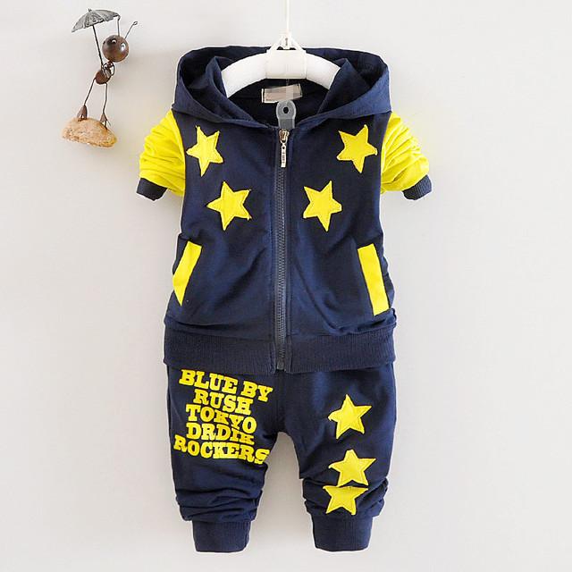 2016 Nova Chidren Crianças Meninos Conjunto de Roupas de Outono Inverno 2 Pcs/Casaco Com Capuz Set Ternos De Algodão Queda estrela Meninos Roupas de Bebê
