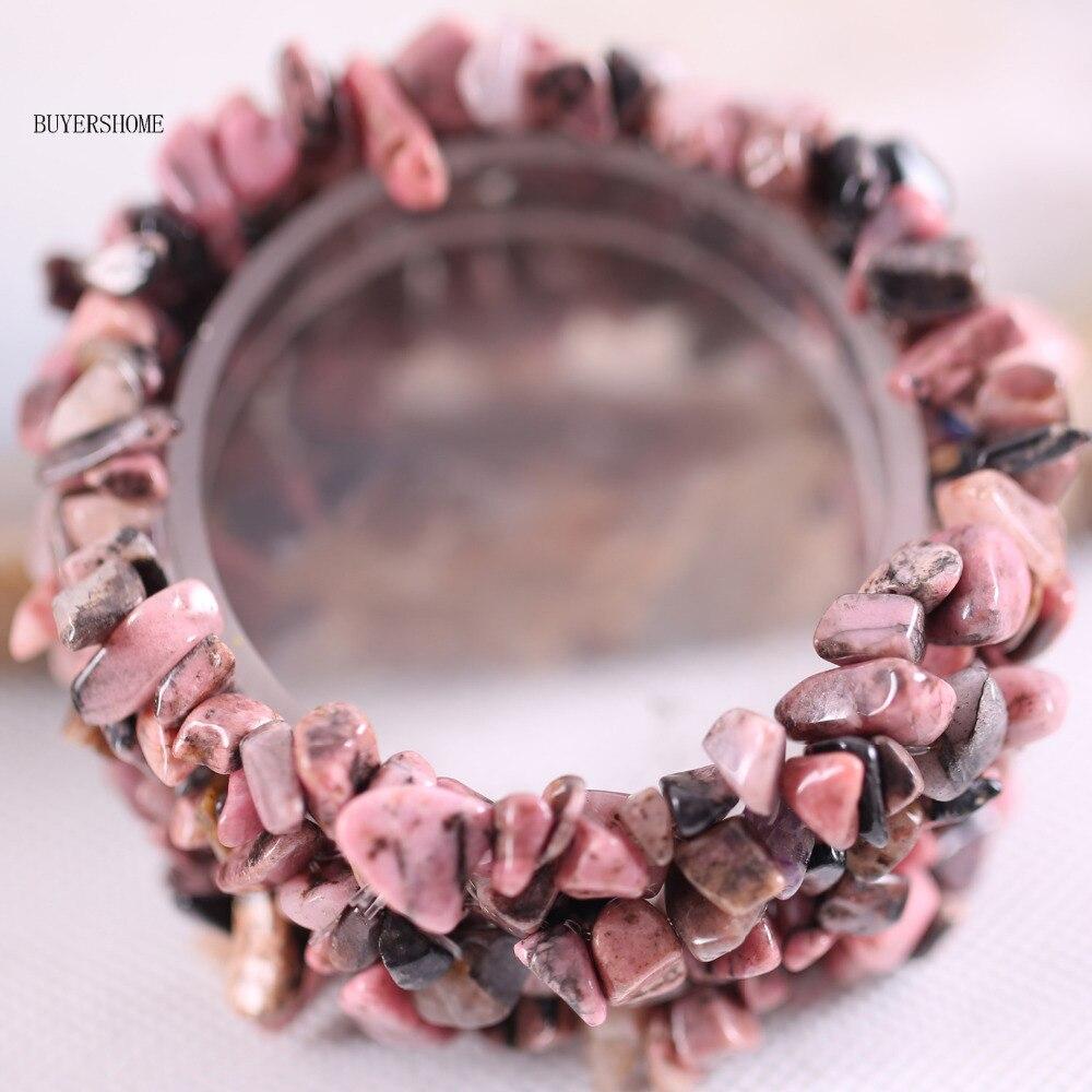 5cfb65979cc9 Бесплатная доставка Модные украшения эластичная ткань Натуральный камень  розовый Родонит браслет 7 1 шт.