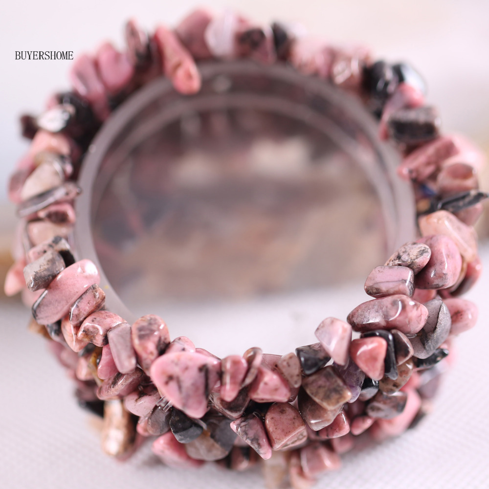 Free Shipping Fashion Jewelry Stretch Weave Natural Stone Pink Rhodonite Bracelet 7 1Pcs H133