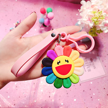 Colorful Sunflower Anime Key Chain PVC Figure Keyring cute Toys Keychain Keyholder Birthday Gift Unisex NEW