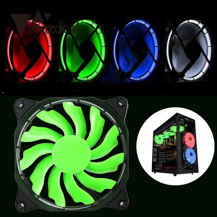AMZDEAL 120mm LED Computer Eclipse Ultra Silent Computer PC Case Fan With Rubber Quiet Molex Connector Easy Installed Fan new computer case firewall ultra short 1u 420mm