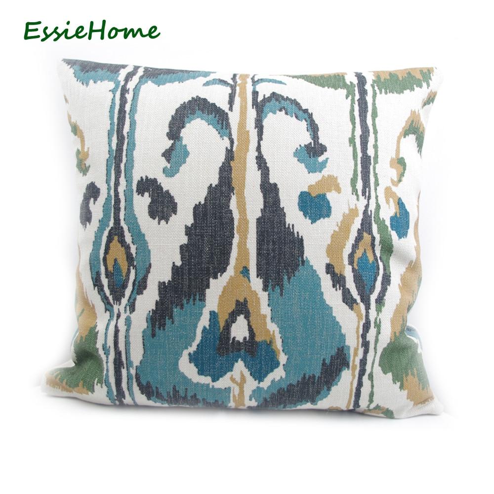 ESSIE HOME Digitális nyomtatás Moss zöld türkiz friss zöld Ikat - Lakástextil