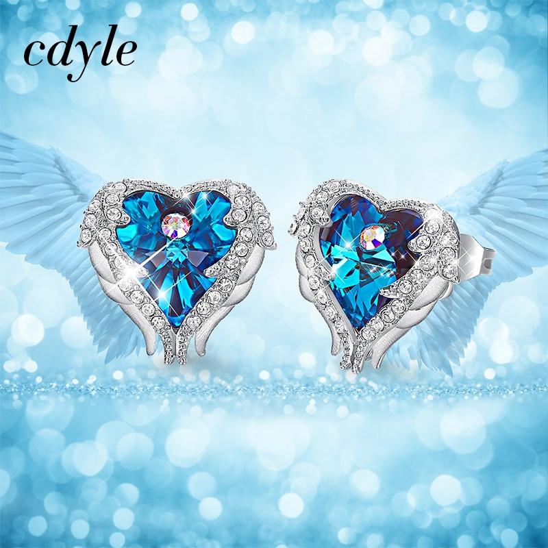 Cdyle cristales de Swarovski pendientes de lujo azul púrpura joyería de moda Sexy elegante corazón Stud pendientes para las mujeres de San Valentín