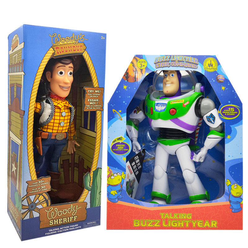 NEW 43cm Toy Story 3 Talking Woody Speaking Jessie Buzz Lightyear Action Toy Figures Model Toys Plush Doll Figurine Kids Gift in Action Toy Figures from Toys Hobbies