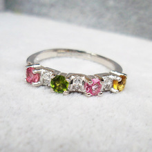 2016 de la moda de plata 925 anillo de piedra anillo de turmalina genuino 3 colores 4 unids 3mm * 3mm turmalina genuino piedra regalo de cumpleaños de la muchacha