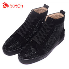 Casual Suede Flats Espadrilles Spring Autumn Studded Crystal Zapatillas Deportivas Hombre Round Toe Loafer Lace-Up Shoes Men