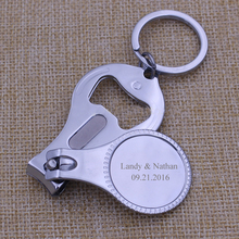 100Pcs Personalized Gift For Women/Men Multifunctional Customized Wine Opener/Keychain/Nail Clippers Professional Wedding Favour