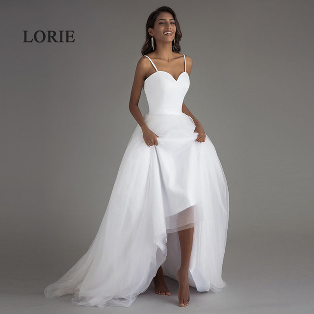 LORIE Spaghetti Strap Beach Wedding Dresses 2019 Vestido Noiva Praia White Tulle with Sashes Boho Bridal Gown A-line Bride dress