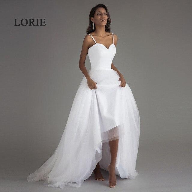 לורי ספגטי רצועת חוף שמלות כלה 2019 Vestido Noiva Praia לבן טול עם Sashes Boho כלה שמלת אונליין כלה שמלה