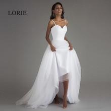 Lorie vestidos de casamento com alça espaguete, de 2020, branco, de tule com faixas, estilo boho, de noiva