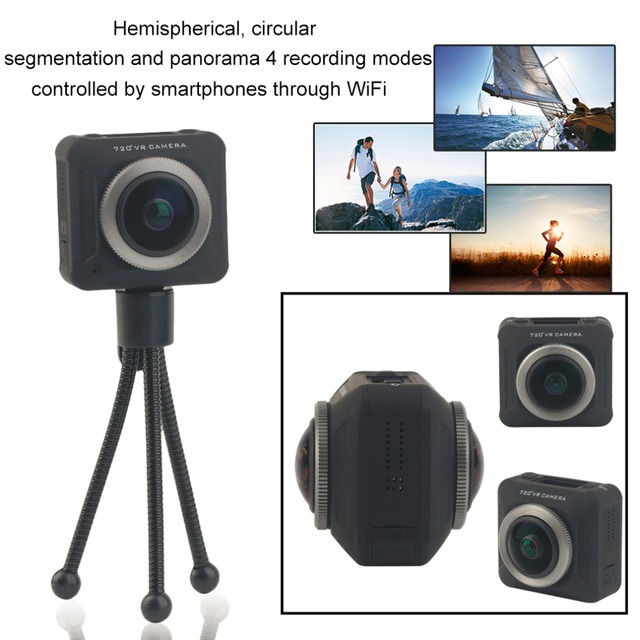 SDW720 Action Camera 360 Degree Full Visual Angle Action VR Camera Recorder Compatible for iOS and Android smartphones