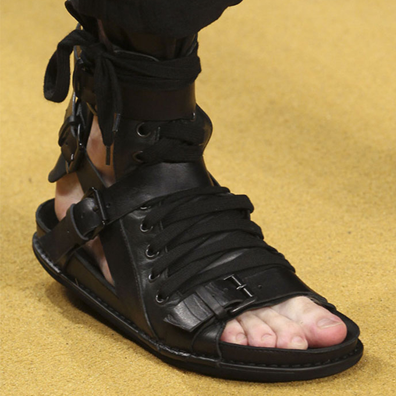 CH.KWOK Fashion Summer Sandals Men Genuine Leather Casual Flat Shoes Gladiator Sandals Black Mens Footwear Flats Beach Shoes mabaiwan fashion summer style men sandals casual shoes roman gladiator black mans footwear flats beach shoes sandalias hombres