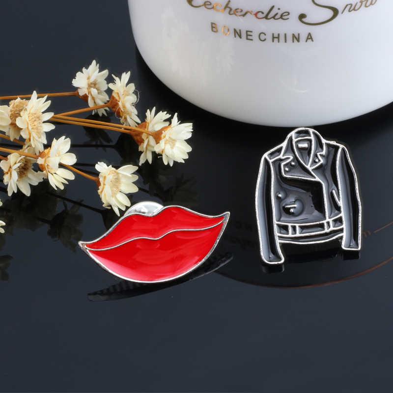 Bros Fashion Pria Jaket Tangan dan Bibir Merah Gadis Enamel Lencana Perhiasan Logam Mantel Aksesoris Ransel Tombol Pins Kreatif Hadiah