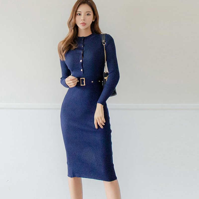 Элегантное однобортное женское платье-свитер с О-образным вырезом, длинным рукавом, поясом, стрейч, Vestidos, женское трикотажное платье до колен 2019