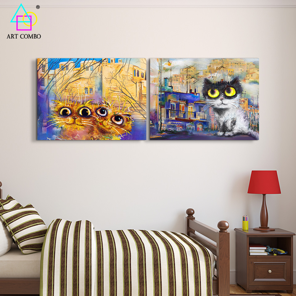 Modern Funny Cat Paintings Canvas Cheap Wall Art Painting Living ...