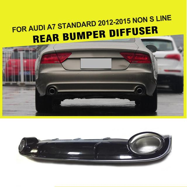 Car Style PP Rear Bumper Lip Diffuser with Auto Car Exhaust Muffler Tips for Audi A7 Standard 4-Door 2011 - 2014 RS7 Style