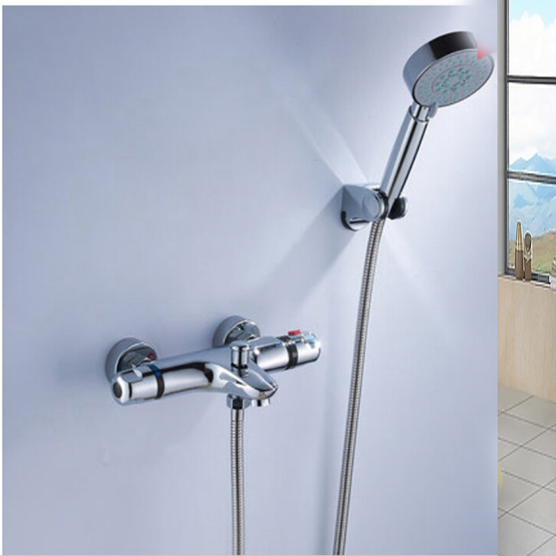 Thermostatic Valve Mixer Tap W/ Hand Shower Tub Spout Tub Faucet Chrome Finish chrome finish dual handles thermostatic valve mixer tap wall mounted shower tap