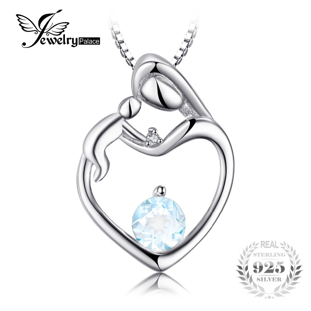 JewelryPalace Heart Mother Child 0.7ct Natural <font><b>Aquamarine</b></font> <font><b>Diamond</b></font> Accented <font><b>Pendant</b></font> 925 <font><b>Sterling</b></font> <font><b>Silver</b></font> Does Not Include a Chain