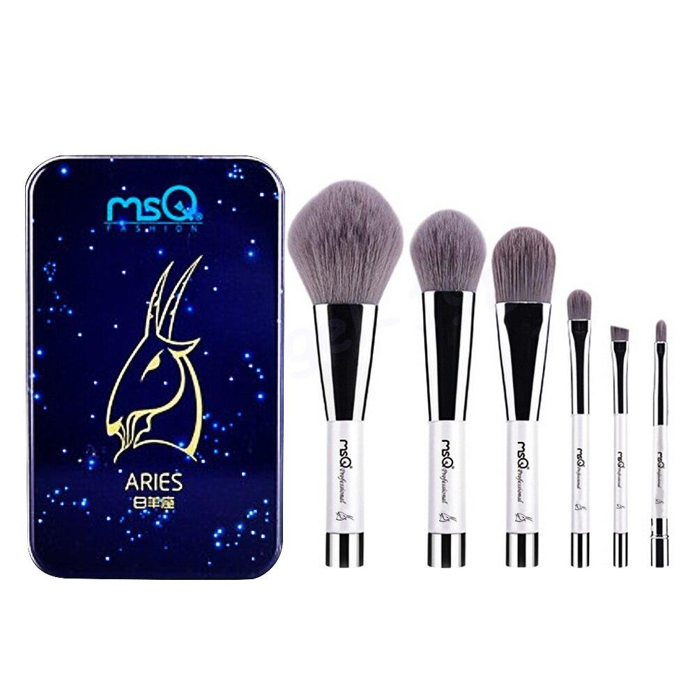 6 Pcs Makeup Kosmetik Serat Arang Bambu Brush Blush Powder Foundation Eye Shadow Alis Bibir Alis Mata Kit dengan Besi Case Aries-Internasional