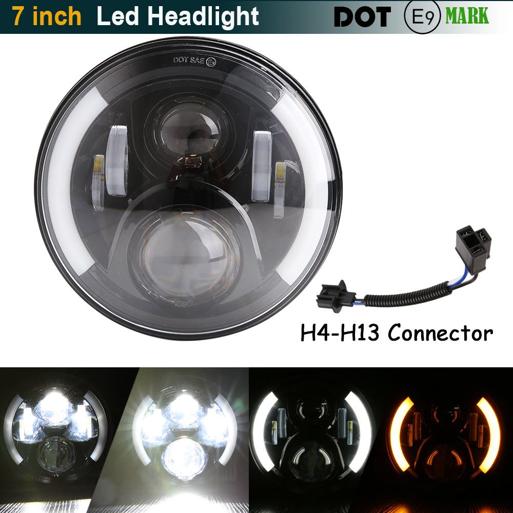 7 pouces H4 H13 Led phare de moto pour Harley avec Halo Angel Eye DRL lumières pour Harely Softail Dyna Sportster