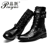 Fashion men spring autumn Motorcycle Martin Boots British Style Gothic Punk Thick Warm Black Shoes Plus Size 38 44