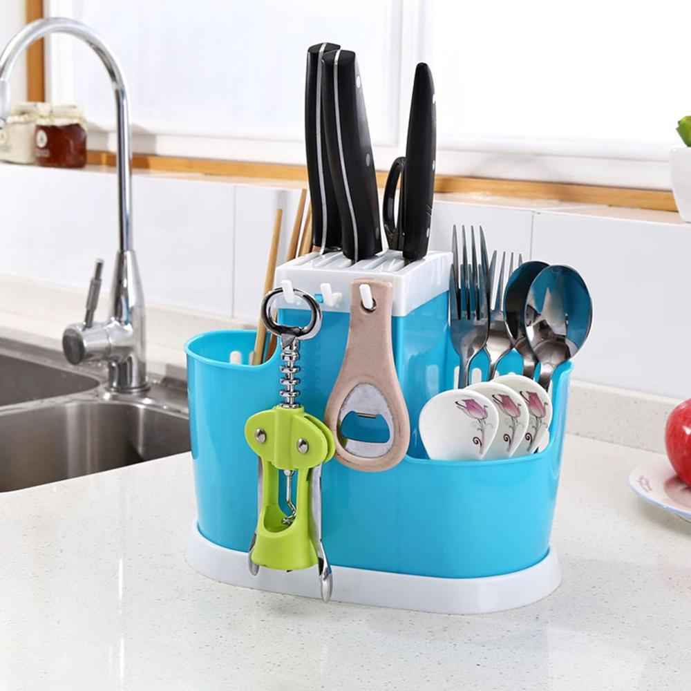 Multifunctional Drain Rack Chopsticks Holder Cage Knife Holder Tableware Storage Rack Kitchen Gadgets