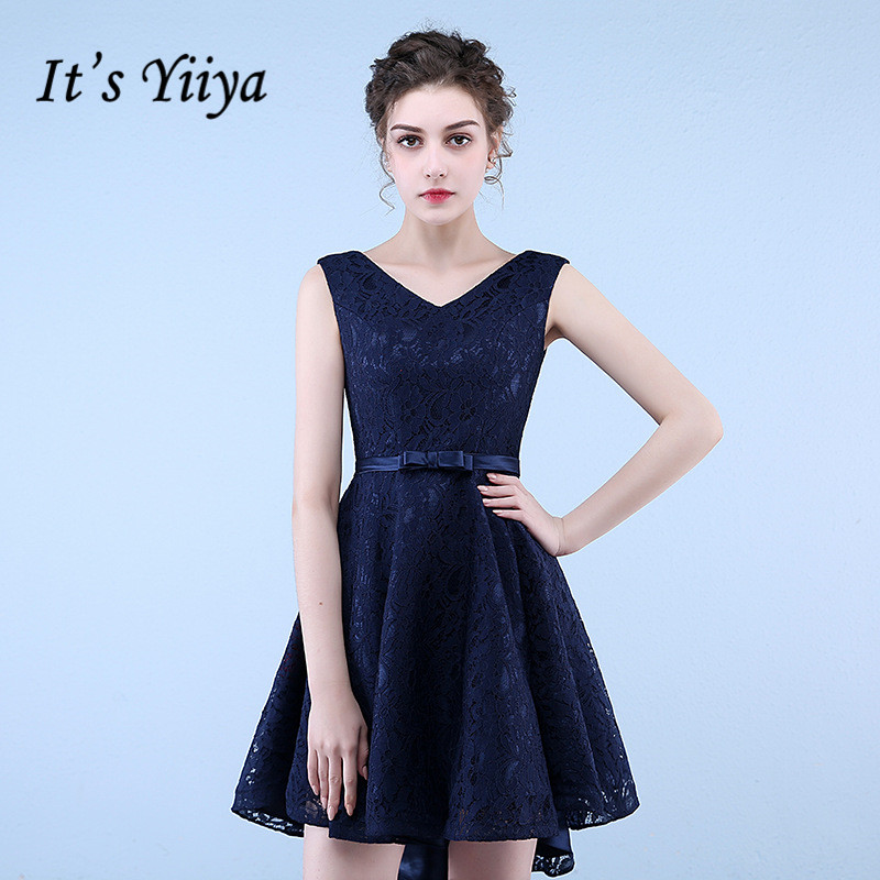 It's YiiYa Navy Blue V-Neck Sleeveless Embroidery Lace Up Prom Dresses High And Low Above Knee Length Formal Dress LX477