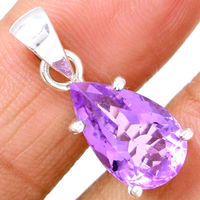 Genuine Amethyst Pendant 100% 925 Sterling Silver Jewelery 28mm AP0924