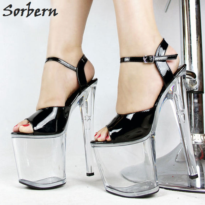 Sorbern New 20cm high heel Woman Shoes 9cm platform sandals Womens Transparent Clear Open toe Ankle Strap Buckle Ultra high hee pu buckle hollow platform womens heel sandals