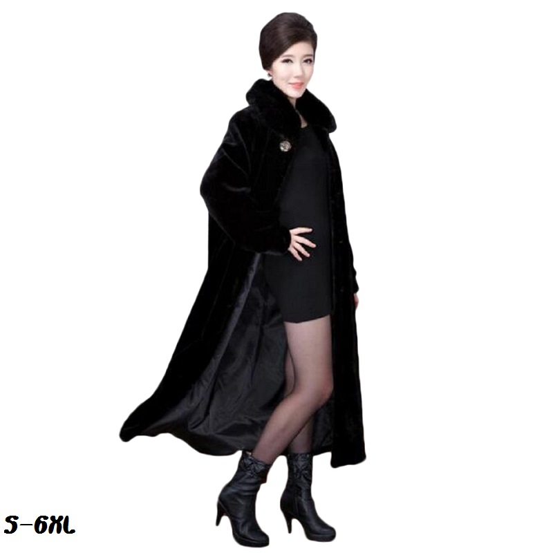 Hot fur coat 2017 new faux long fashion mink Fur natural mum fat plus size s-6XL womans cold