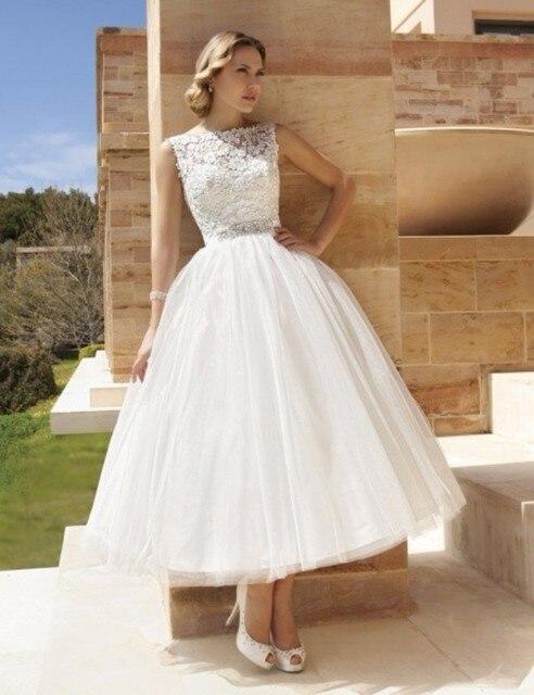 vestido de noiva curto vintage Style Lace Satin Tea Length Short ...