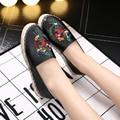 Zapatos de mujer zapatos de paja de lino Tejido de seda bordada pescador perezoso zapatos Hechos A Mano Con Cuentas de las mujeres ocasionales zapatos planos