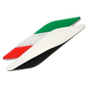 Image 3 - 1 זוג רכב רכב סטיילינג מתכת לוגו אלומיניום איטלקי דגל פגוש סמל תג מדבקת עבור פיאט אלפא רומיאו Abarth רכב אבזרים