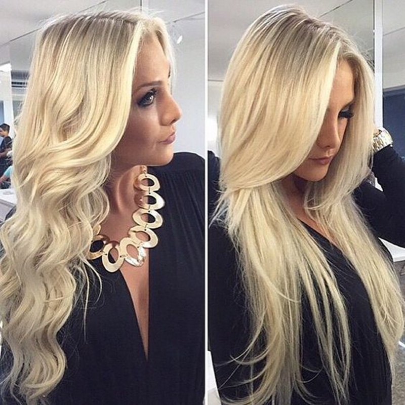 ФОТО Straight Blonde Ombre Lace Front Wig Synthetic Lace Front Wig Heat Resistant Synthetic Brazilian Straight Hair for Fashion Women