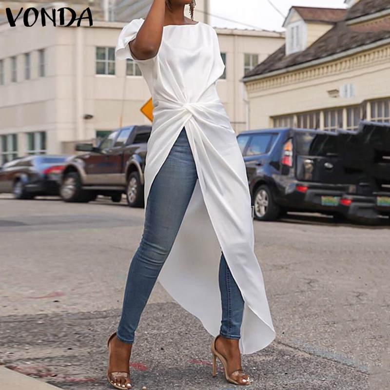 VONDA S-5XL Summer Tops Women Blouse Sexy Split Hem AsymmetricalParty Blouse Casual Loose Long Shirts Female OL Blusa Tunic