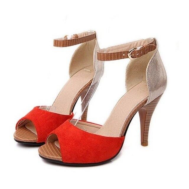 Размер 33-43 Плюс Небольшой Размер Женщин Сандалии 2016 Лето Лодыжки Strapy Открытым Носком Леди Высокие Каблуки Гладиатор Сандалии Рим Партия обувь