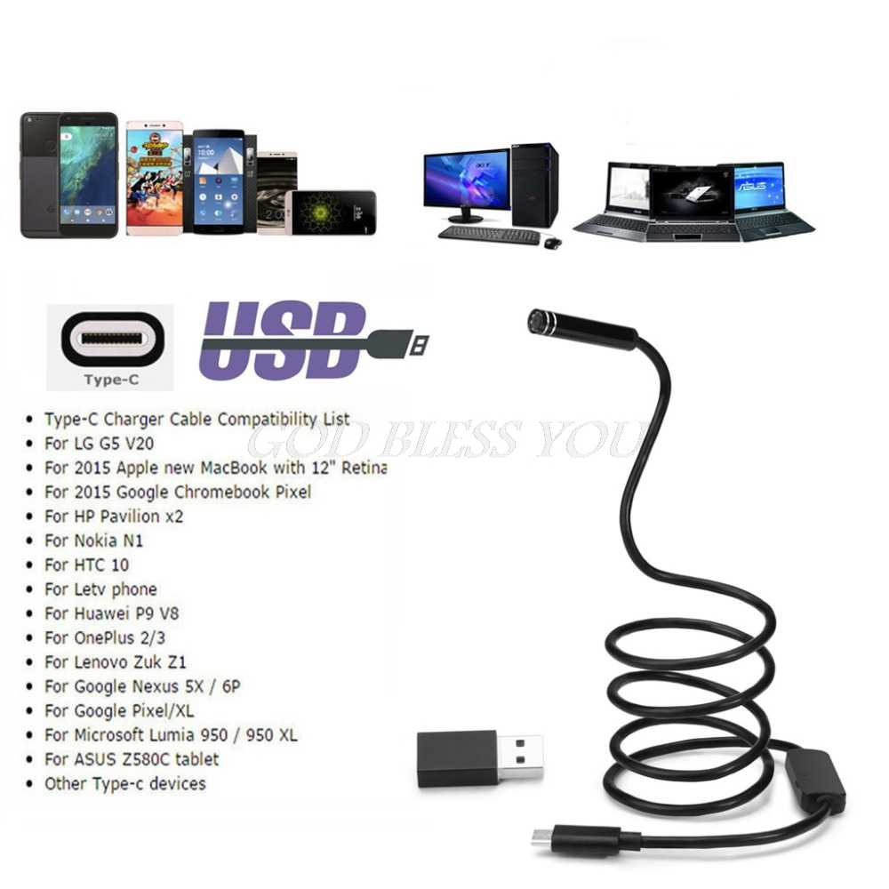 5.5mm 1M/3M/5M/7M10M 6LED USB TYPE-C Android Endoscope Inspection Camera Snake Flexible Borescope Camera For Android Windows