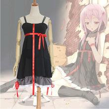 2017 Anime Guilty Crown Inori Yuzuriha Cosplay Costume Women Slip Dress Black White demitoilet Daily Clothing