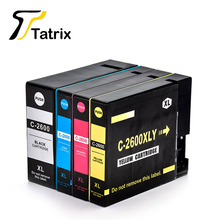 4pk para canon 2600xl pgi-2600xl pigmento bk/c/m/y con la viruta del cartucho de tinta para canon maxify ib4060/maxify/mb5060/maxify/mb5360