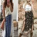 Fashion Women's Long Bohemian Hippie Skirt Printed Chiffon Placketing Skirts Beach Summer Skirt 2 Colors Available Free Shipping