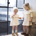 Brand style kids girl autumn winter Knitted Dress + hat Pullovers Sweaters Beading Ruffles Dresses Long sleeve princess