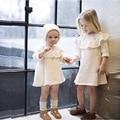 Estilo da marca crianças menina outono inverno Vestido + chapéu de Malha Pullovers Camisolas Beading Ruffles Vestidos de manga Longa princesa