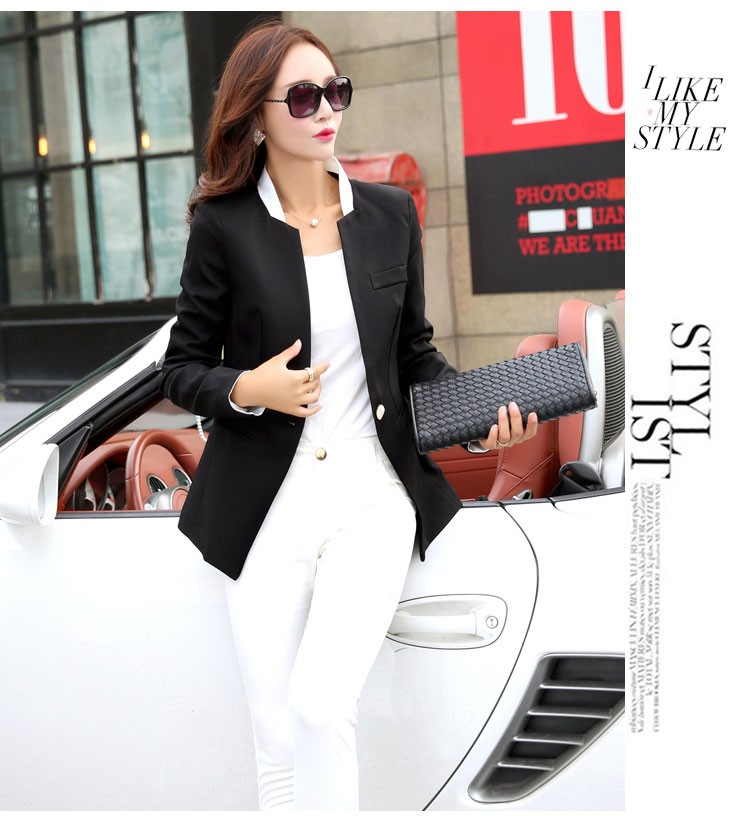 Autumn Spring Chic Office Ladies Stand Collar Blazers Pink Black Jackets For Gentle Women Silm Business Casual Wear Jaqueta Feminina ccccc