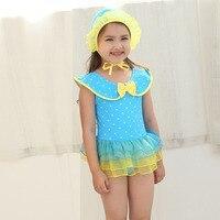 Sarı Yüzmek Elbise çocuk Mayo Kız Tek Parça Plaj Kıyafeti Sevimli Pembe Mayo Küçük Genç Kız Mayo Tek parça