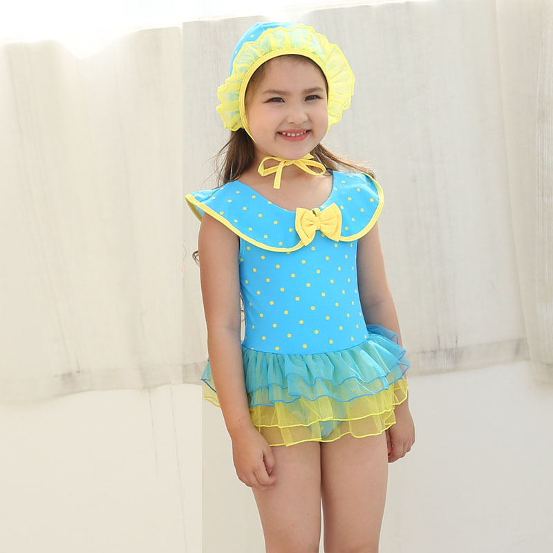 Yellow Swim Dress Children s Swimsuit Girl One Piece Beach Wear Cute Pink Swimwear Little Young